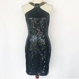 Niteline Vintage Black Sequin And Gold Dress